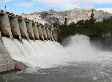water rushing through a hydro-electric dam