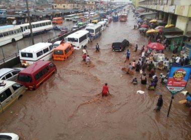 Flooded street in Ghana