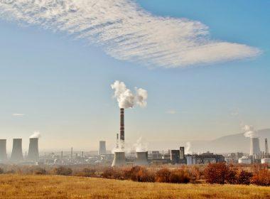 Factory emitting smoke